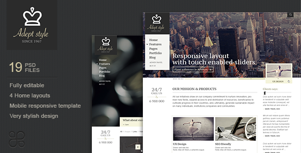 Adept Style Business PSD Template