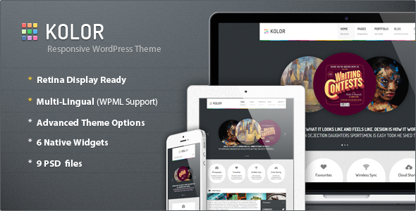 01 kolor preview   large preview1 40 Retina Ready Premium Wordpress Themes
