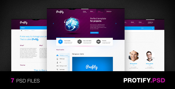 01 protify 590x300   large preview1 25 Premium Corporate PSD Templates