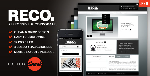 01 reco promo graphic   large preview1 25 Premium Corporate PSD Templates