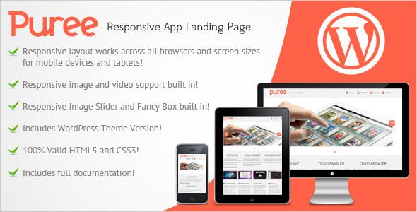 Puree Responsive App Landing Page