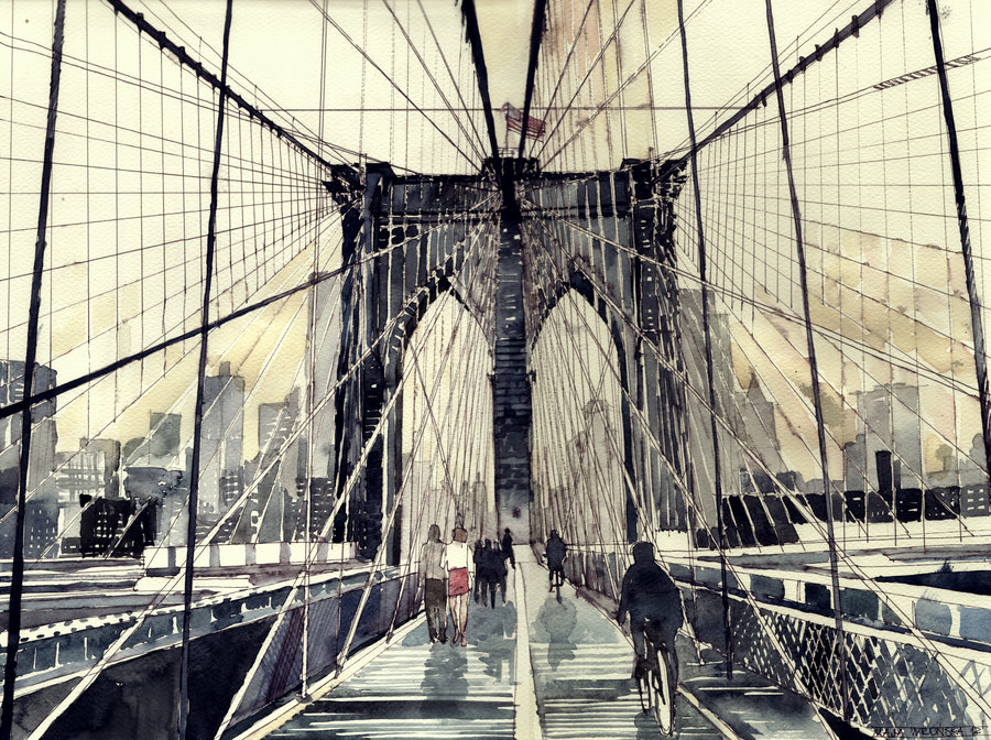 brooklyn bridge by takmaj d5ds6vr1 Watercolor Wonders by Maja Wronska