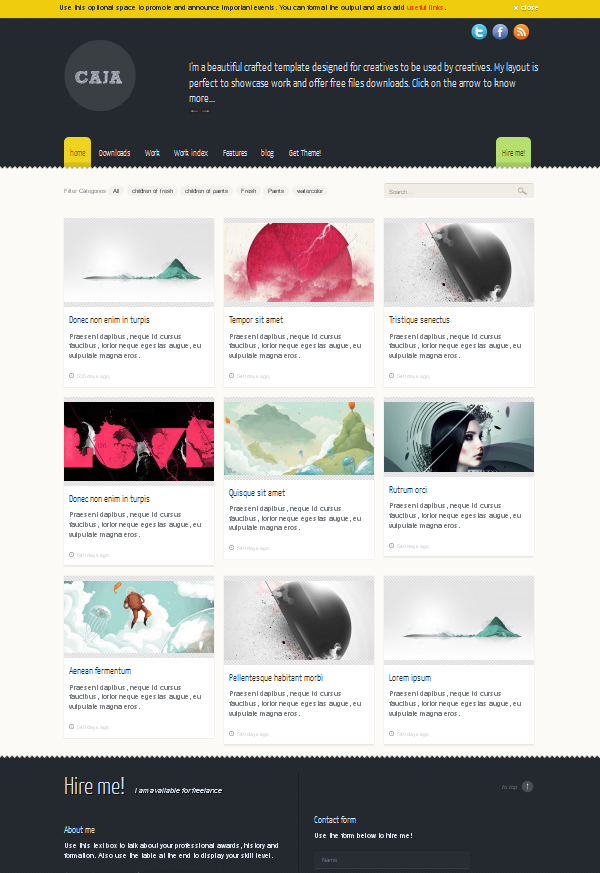 caja Top Free WordPress Themes of 2012