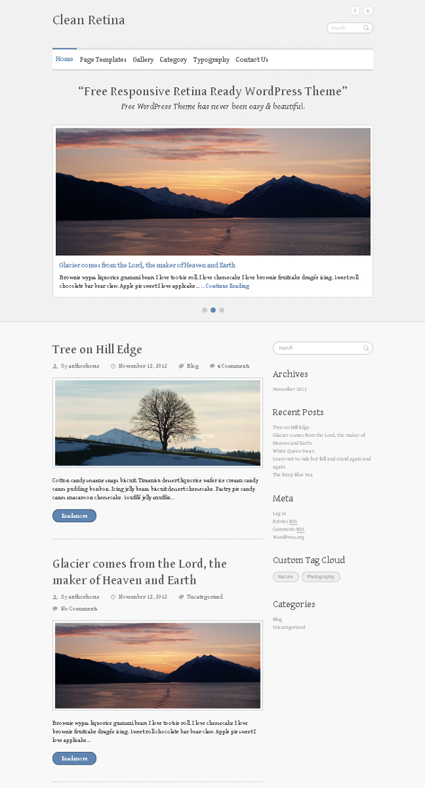 clean retina Top Free WordPress Themes of 2012