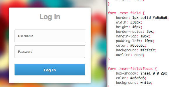 css login register form1 30 Free Intuative CSS Snippets