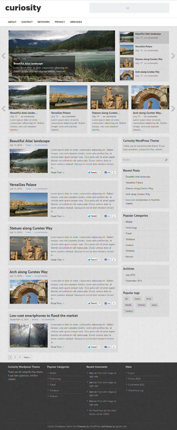 curiosity Top Free WordPress Themes of 2012