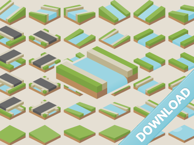 Free isometric tiles (water expansion) by Kenney Vleugels Follow