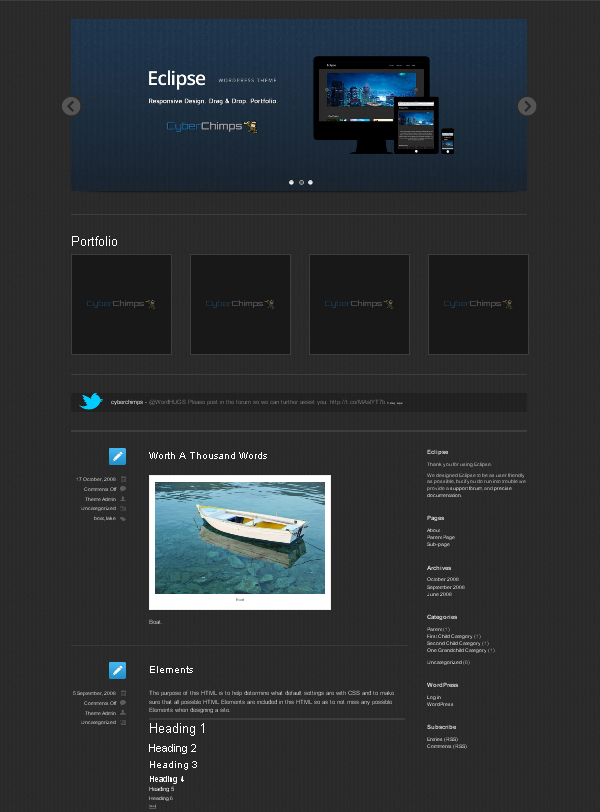 eclipse Top Free WordPress Themes of 2012