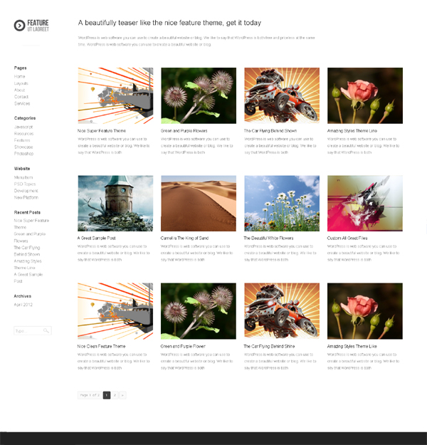 feature Top Free WordPress Themes of 2012
