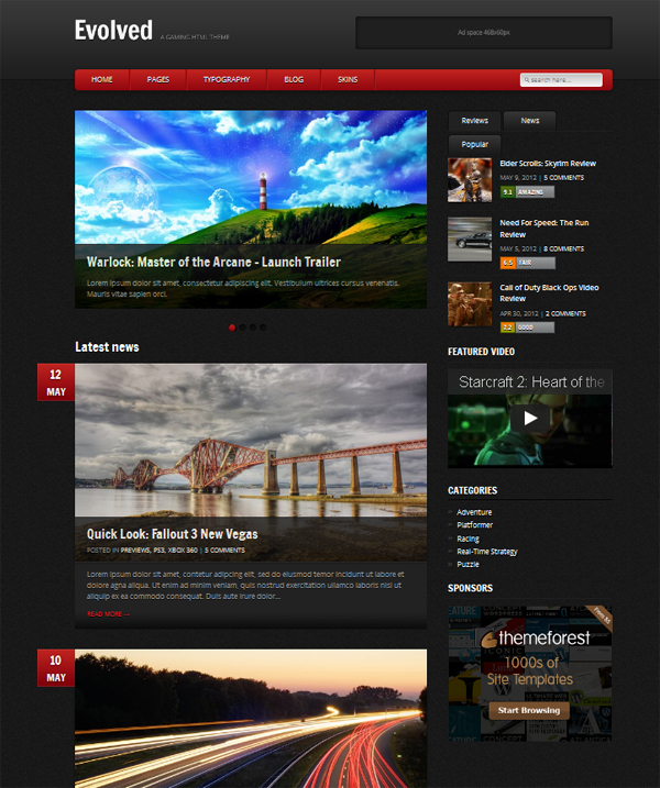 gamepress Top Free WordPress Themes of 2012