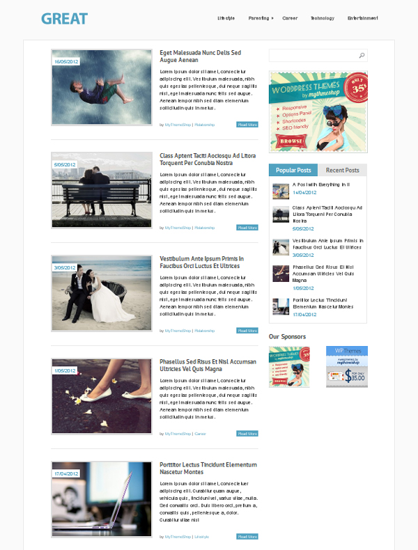 great Top Free WordPress Themes of 2012