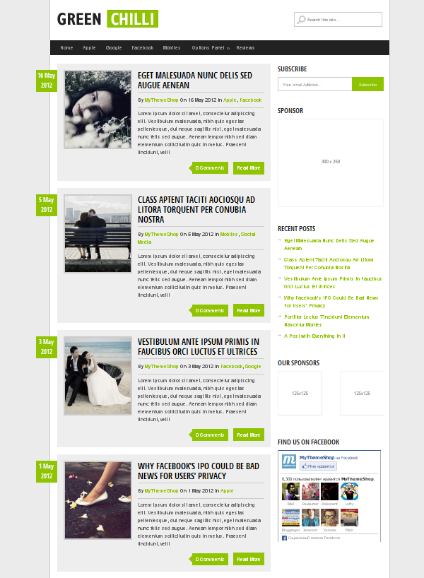 greenchilli Top Free WordPress Themes of 2012