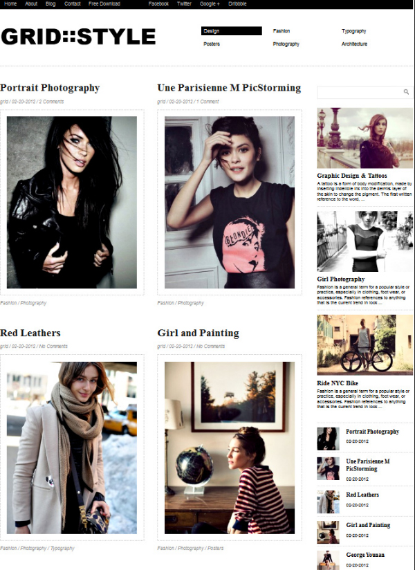 grid style Top Free WordPress Themes of 2012