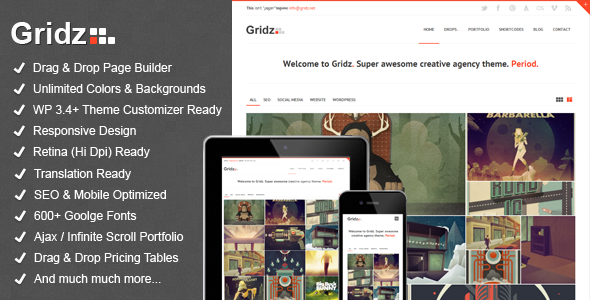 gridz preview   large preview1 40 Retina Ready Premium Wordpress Themes