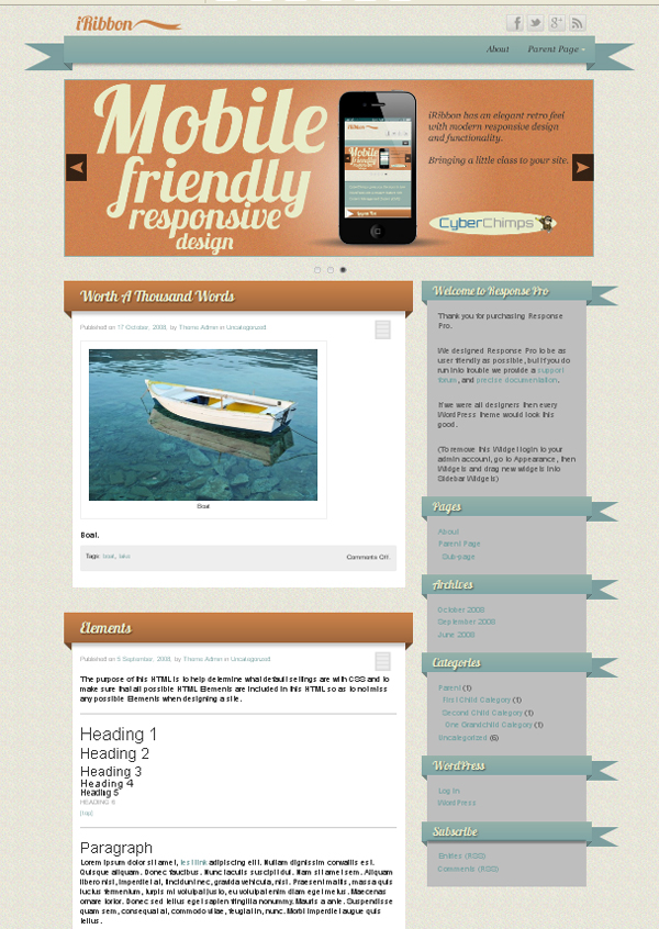 iribbon Top Free WordPress Themes of 2012