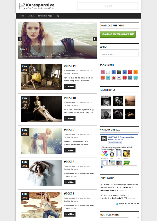 koresponsive Top Free WordPress Themes of 2012