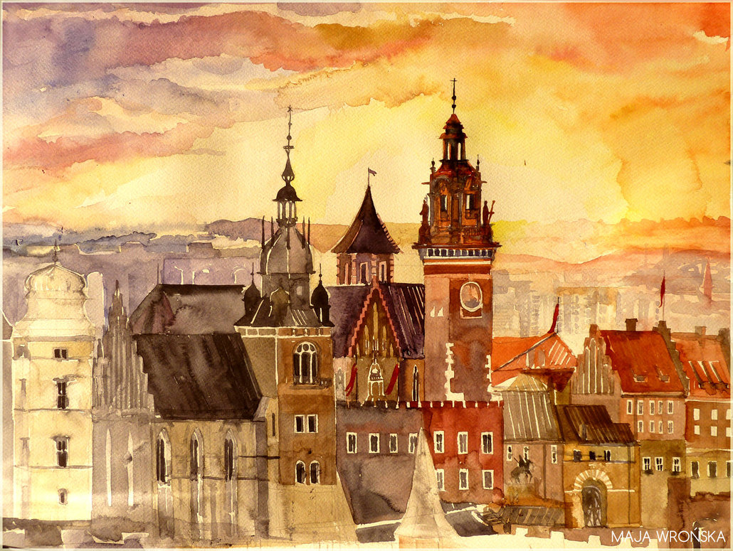 krakow by takmaj d57kvc21 Watercolor Wonders by Maja Wronska