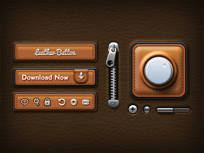 Leather UI Elements by GraphicsFuel