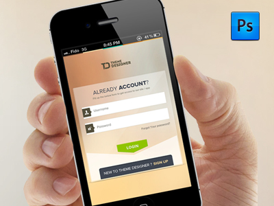 Mobile App Login PSD by Sunil Joshi