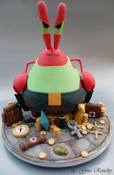 mr krabs as lara coft cake by ginas cakes d4wihe01 Top 30 Realistic Cake Designs