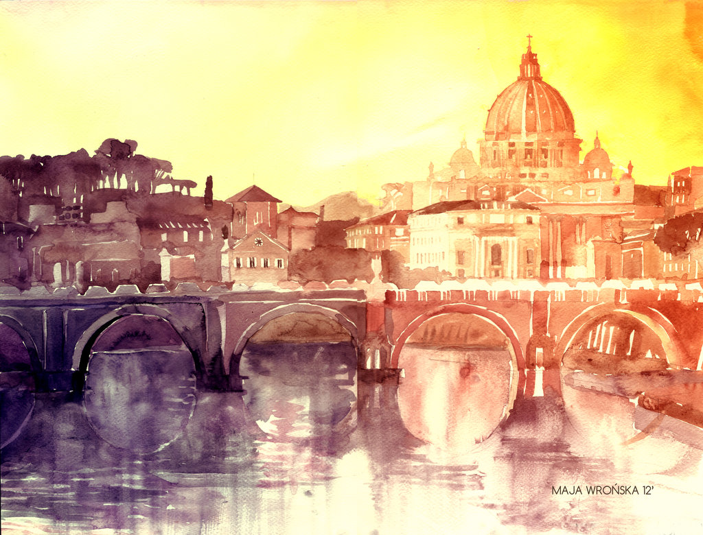 sunset in rome by takmaj d58wrid11 Watercolor Wonders by Maja Wronska
