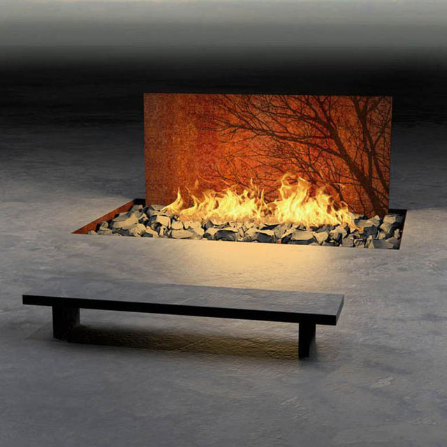 Tree Wall Fireplace