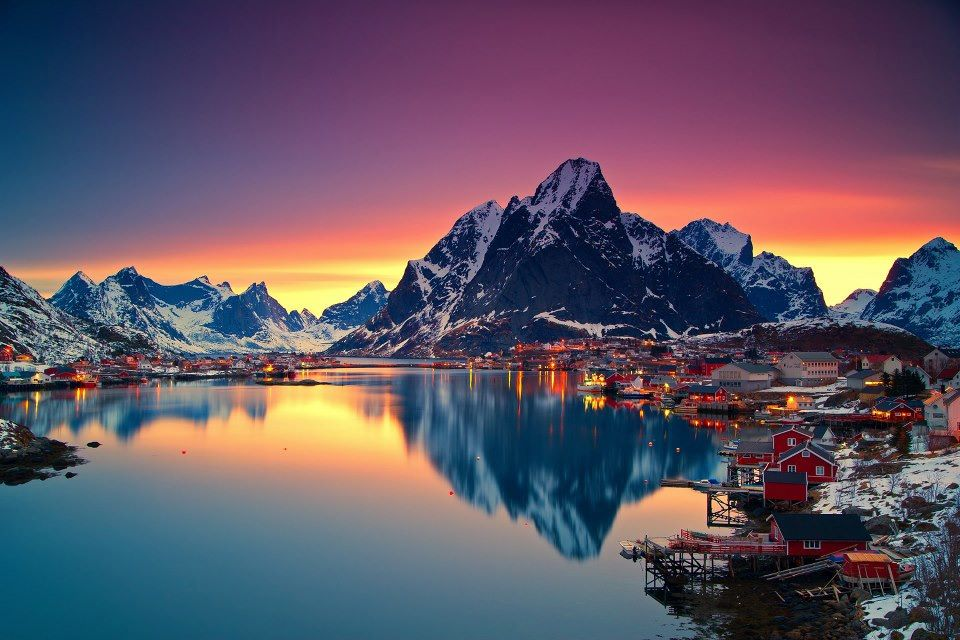 Midnight Sun in Lofoten, Norway by Christian Bothner