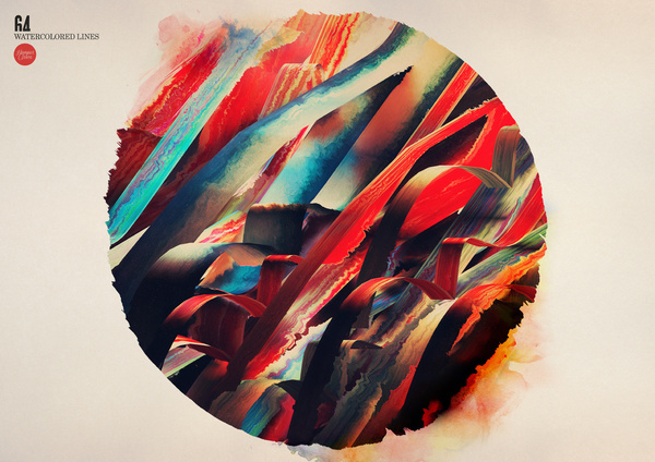 64 Watercolored Lines by Hampus Olsson