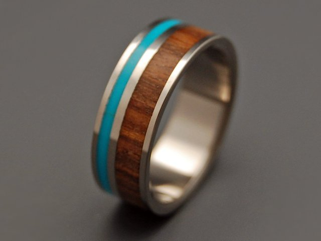 Titanium Turquoise & Wood Wedding Ring