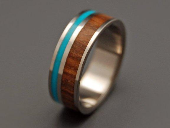 Titanium Turquoise & Wood Wedding Ring
