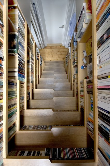 Book Lined Staircase by Levitate Architects