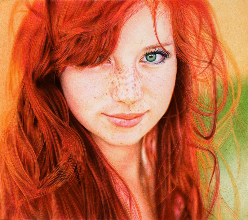 redhead girl   ballpoint pen by vianaarts d5531ab Photo or Pen? Photorealistic Artwork by Samuel Silva