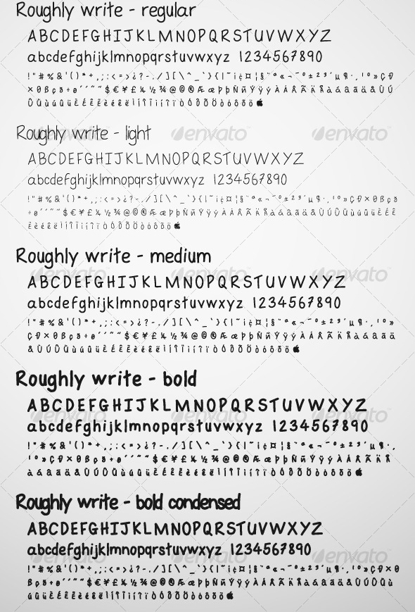 roughly write set 20 Premium Sans Serif and Script Fonts