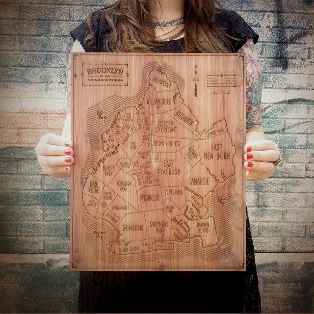 Brooklyn Etched Wood Map