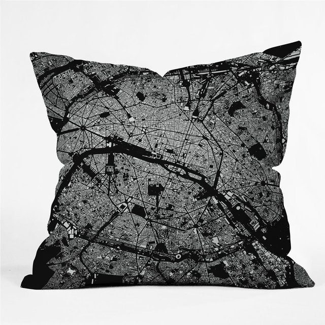 Paris Throw Pillow by City Fabric