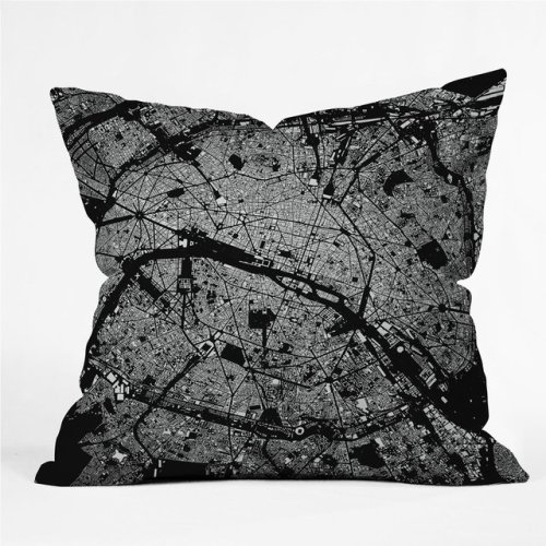 Paris Throw Pillow by City Fabric