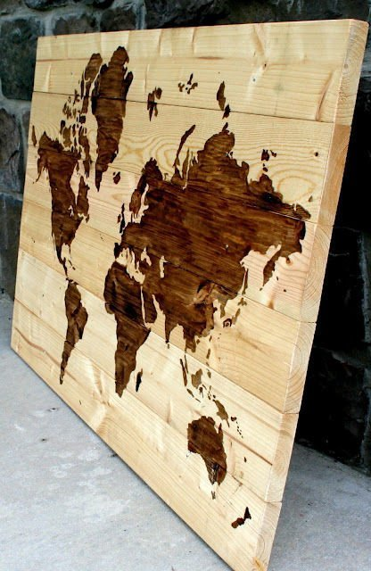 Rustic Wood World Map