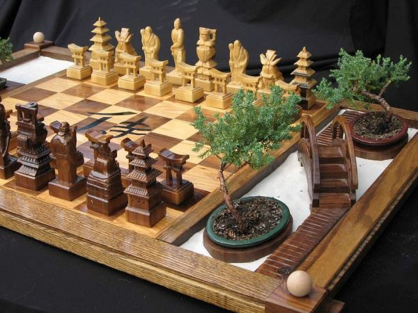 Samurai Chess Set with a built-in zen garden