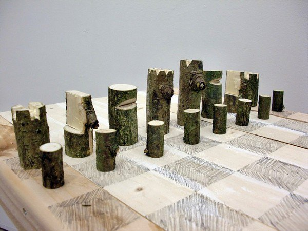 Log Chess Set by Peter Marigold