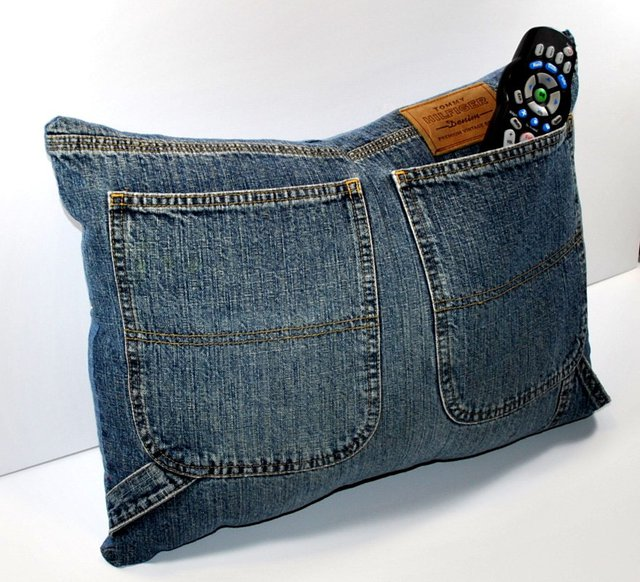 Denim Jeans Pocket Pillow