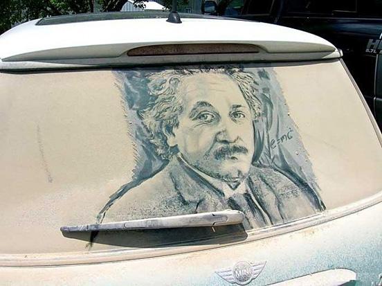 Art on Dusty Window