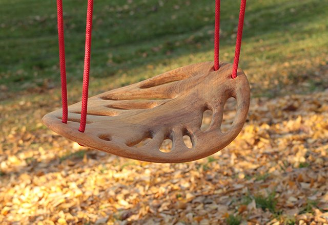Carved Wood LEAF Swing