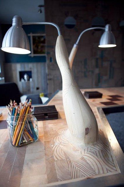 Hand Carved Wooden Desk Lamp