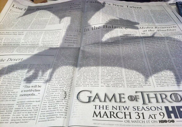 Game of Thrones' Clever Newspaper Ad