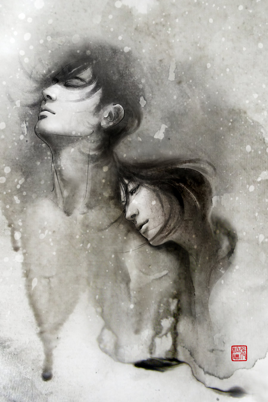 memories blur into dreams Passion Packed Chinese Ink Drawings by Rola Chang