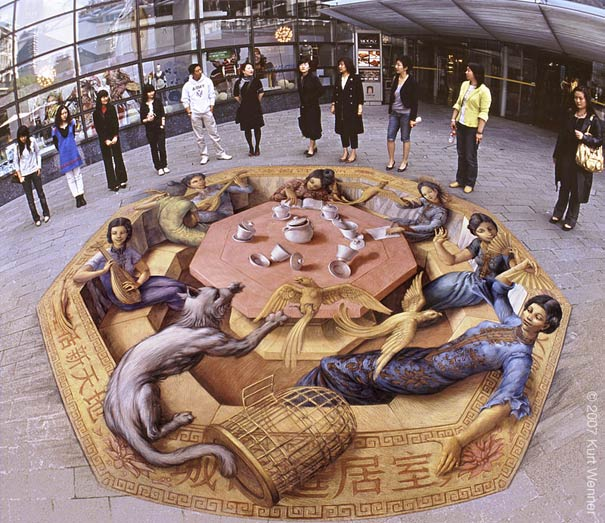 shanghai tea party Art on the Edge: Unbelievable Street Art Illusions