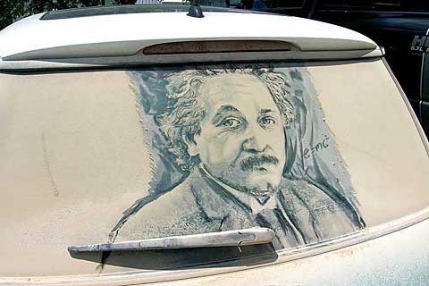 albert einstein 20 Dirty Car Artworks by Scott Wade