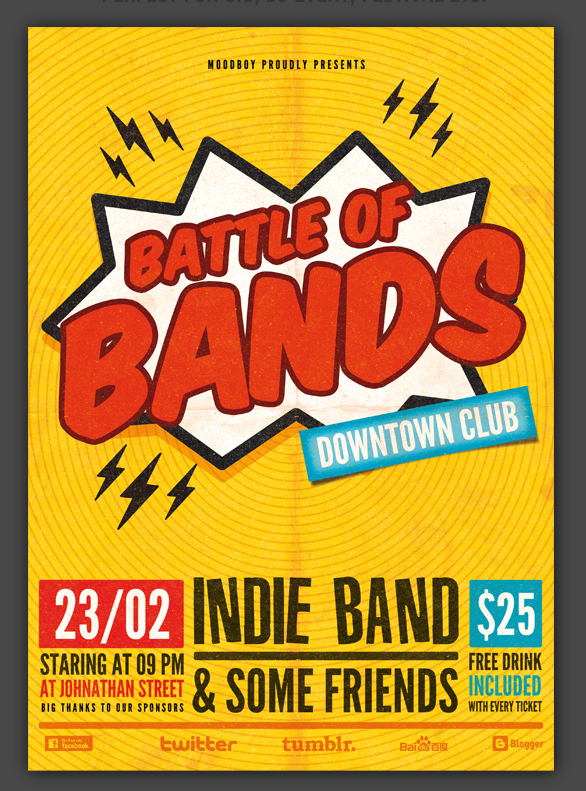Band Flyer Template Guitar Indie Old Folk Band Concert Event Band