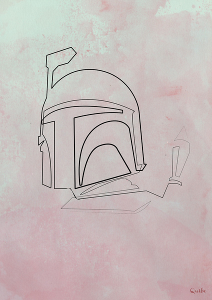 boba fett Minimal One Line Prints by Quibe
