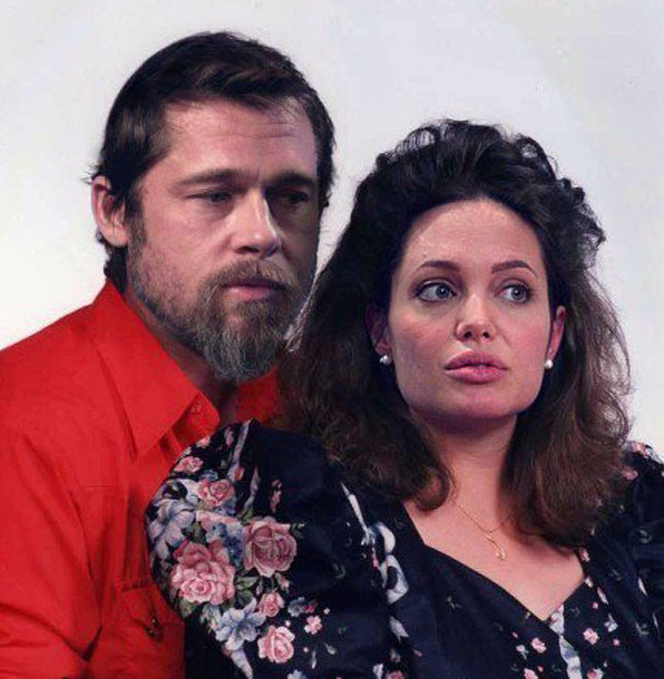 brad pitt and angelina jolie Priceless Humor: Celebrities Photoshopped as Ordinary People